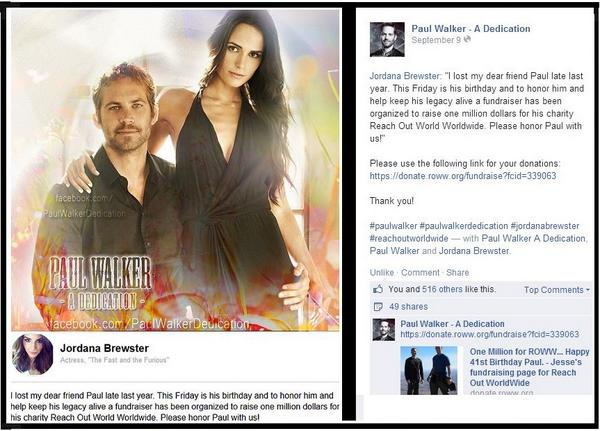 @JordanaBrewster TOMORROW is #PaulWalker 's Bday! Honor him HELP-DONATE https://t.co/QLNkIO2HZw @ReachOutWW http://t.co/8ookq3lP4Y