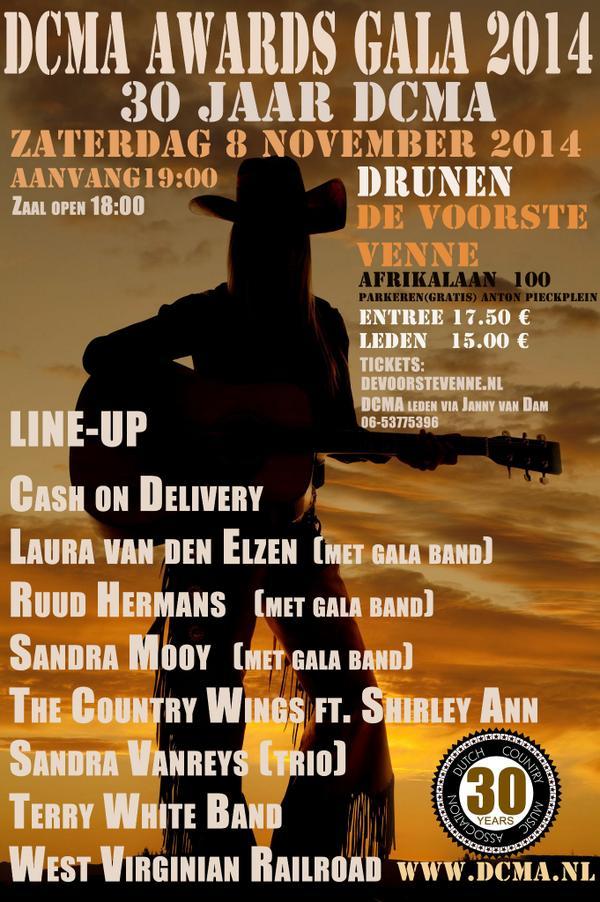 8 november DCMA Music Award Jubileum Gala in Drunen. Zie flyer voor meer info.