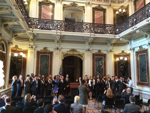 Presidential Innovation Fellows Round 3 swearing in this morning @todd_park @rypan http://t.co/S2ccmhvlRF