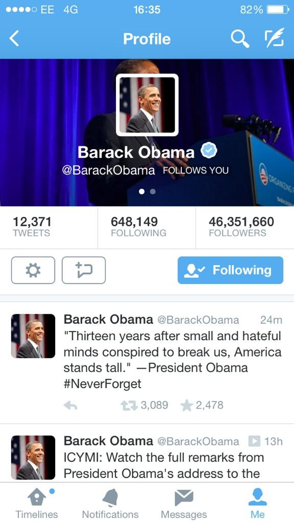 It's not often that you can say a President follows you! We can though..@BarackObama http://t.co/wNSz2KLG2t