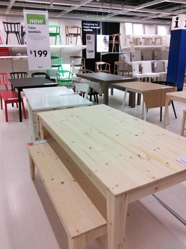 Ikea Charlotte On Twitter New Nornas Solid Pine Dining Table 199 And Bench 89 Http T Co Uoro4dopj0