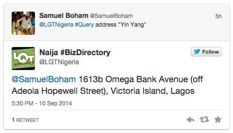 Get the #Address of any #Biz in the @LGTNigeria Directory with a #Tweet!  http://www. lgtnigeria.com/blog_page.php? date=2014-09-09%2010:41:21 &nbsp; …  <br>http://pic.twitter.com/67f8RtUzS9 @NaijaCzars pls #RT