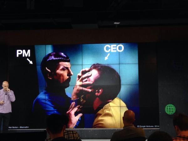 Good product manager needs to be able to channel the CEO says @kennethn in an excellent talk #trailblazers #startrek http://t.co/mVhOoVfzqL