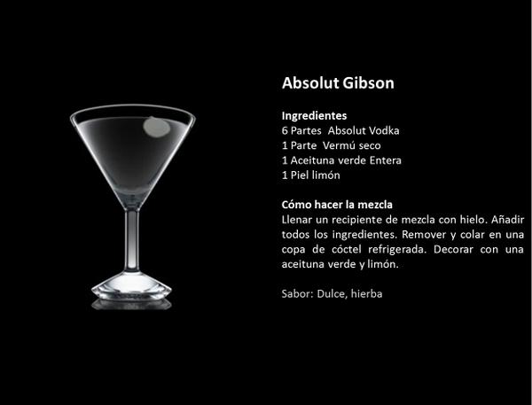 Absolut Gibson: Absolut Vodka + Vermut seco + 1 aceituna verde +  espiral de concha de limón #TipsAbsolut http://t.co/U17bEFCwNT