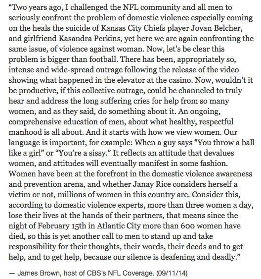 Yes. RT @EdgeofSports: Once again, here is James Brown's pregame statement about toxic masculinity. Amazing. http://t.co/CNXCJeauha
