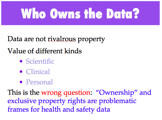 Excellent #privacy slide! MT @BraveBosom: @claudiawilliams ... @cookdeegan panel on #genome data sharing ... http://t.co/QLkJXPBb1Q