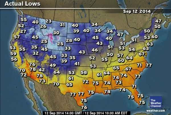 Weather Channel Us Map.The Weather Channel On Twitter This Morning S Low Temps Across The