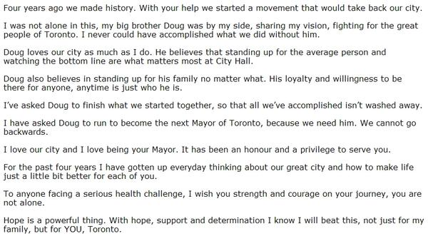 STATEMENT from Rob Ford, part 2: http://t.co/9RtSb8IiZq