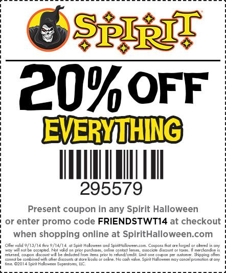 spirit halloween on twitter shopping spirithalloween dont forget this coupon for 20 off your entire purchase valid saturday and sunday only