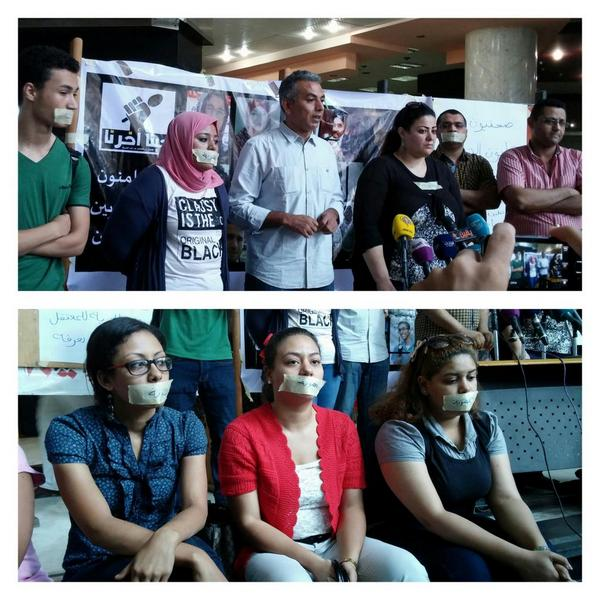 PHOTOS: Egyptian journalists gather at Cairo's Press Syndicate, denouncing the protest law http://t.co/gdgDFYN1I2 #EgyHungerStrike