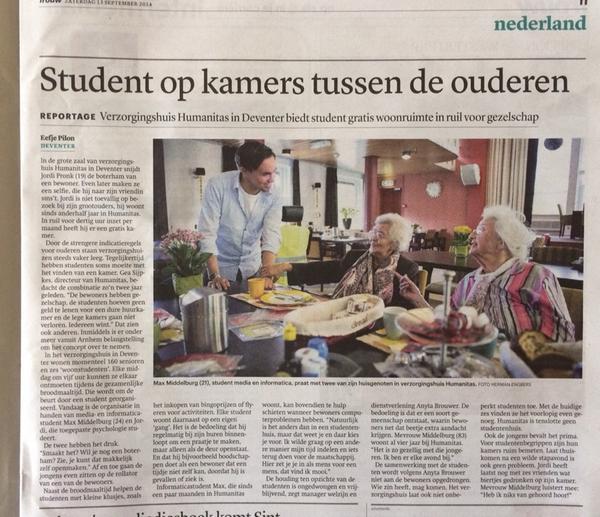 Na Groningen volgt ook Deventer met gratis woonruimte voor studenten in ruil voor zorg ouderen #trouw http://t.co/3uV823Xoug