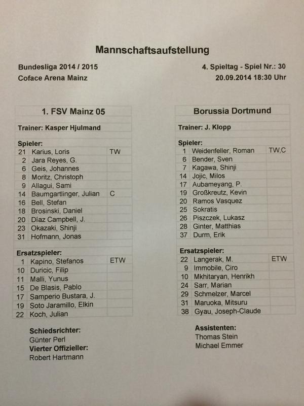 Die Aufstellungen zum Spiel #M05BVB #Bundesliga #Mainz05 @bvb http://t.co/ApfqYHZfee