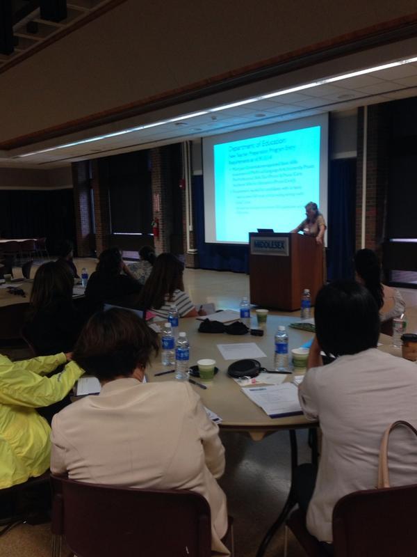 Dr. Bonnie Gold goes over new DOE Teacher Preparation Program Entry Requirements with #math #educators http://t.co/ttORETIua6