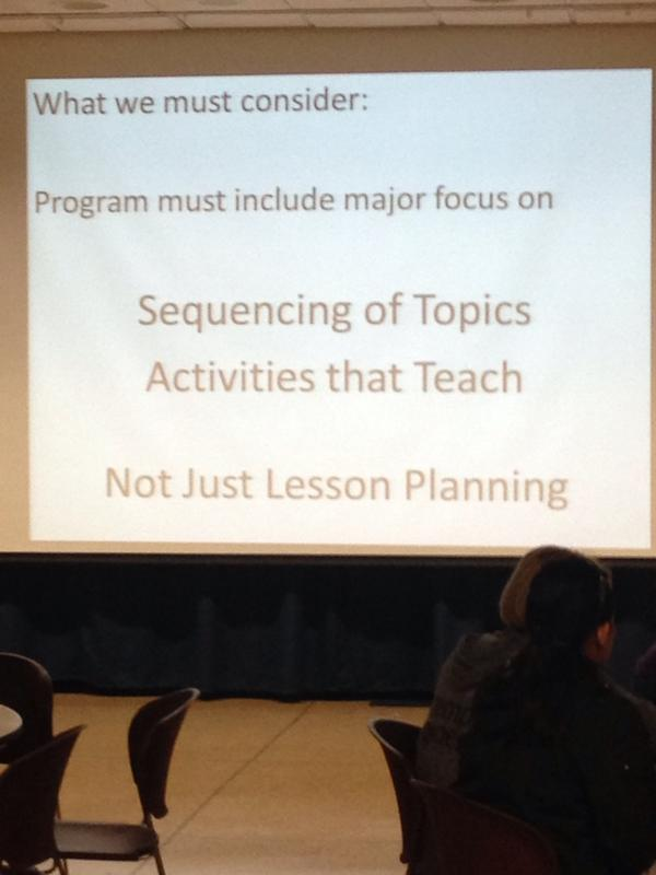 """""""All #education prep programs should have sequencing of topics & activities that teach.""""  Frank Gardella #commoncore http://t.co/pDidCXHH7o"""