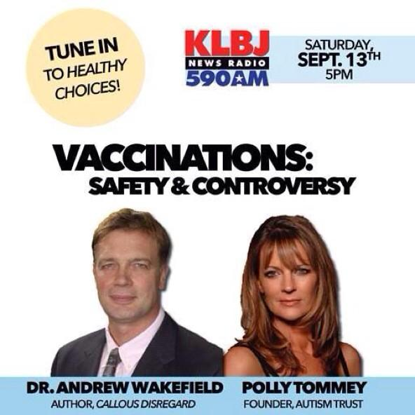 Are you ready? We're excited to have @PollyTommey and Andrew Wakefield at 5pm on News Radio KLBJ! Don't miss it! http://t.co/XtY4uwAgEK