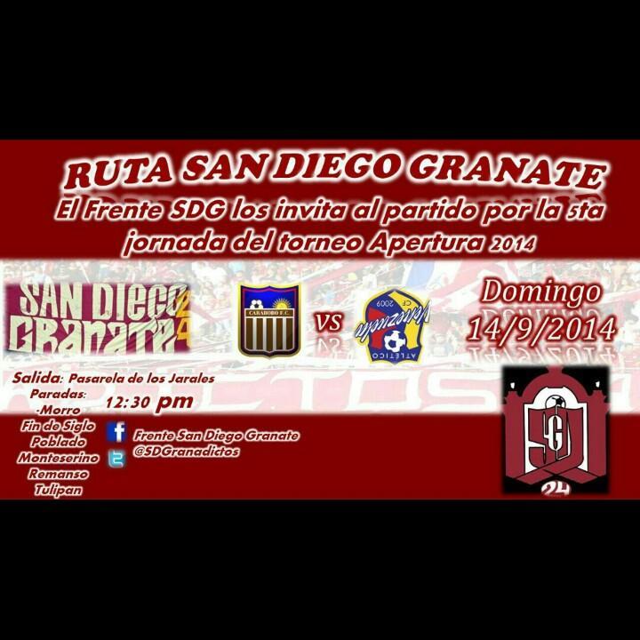 Frente San Diego los invita al CARNAVAL GRANATE, Mañana todos al misael.  40 bsf ( ida y vuelta )   @SDGranadictos http://t.co/5BAUVJp3r8