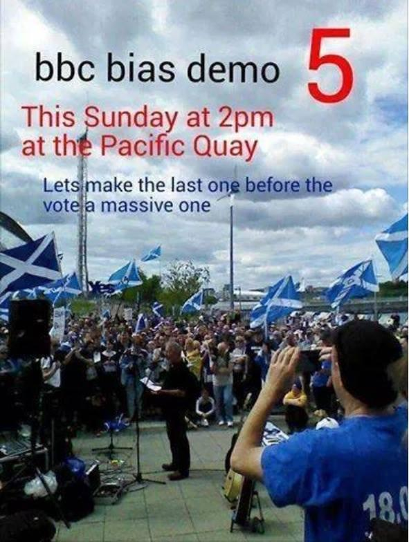 RT @samuelcferguson: Demo on Sun outside BBC Scotland against its biased broadcasting of independence news. Please retweet! #bbcbias http:/…
