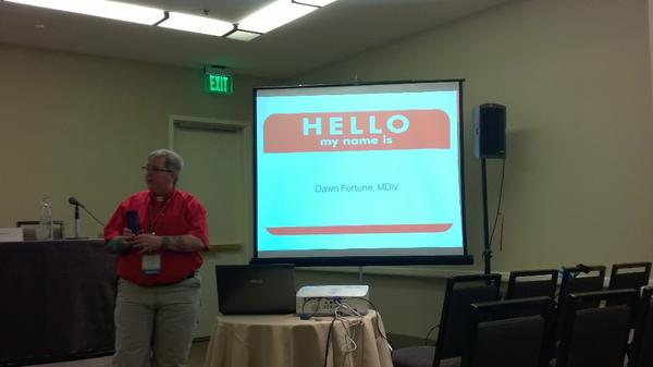 UU Minister Dawn Fortune prepares to present at CatalystCon.  #cconfaith http://t.co/LwEMZ8vKPx