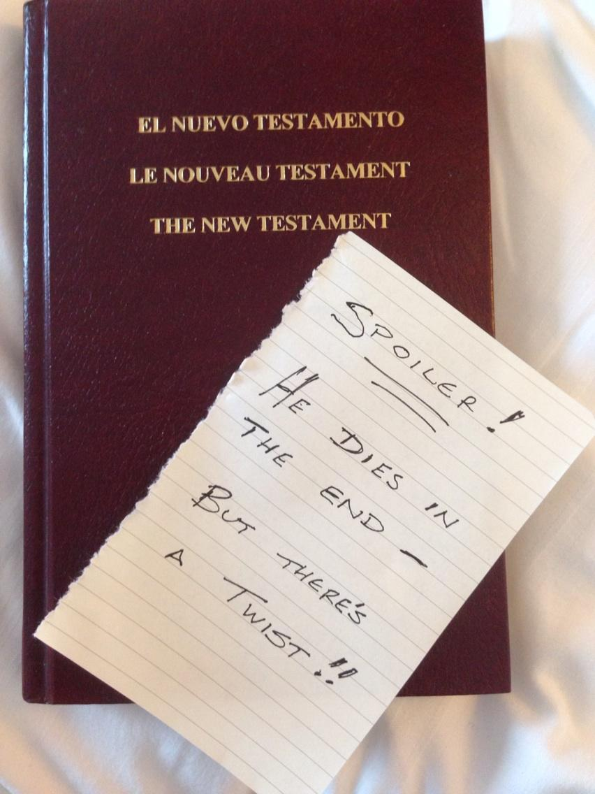 RT @scaryduck: Found a Gideons Bible in this hotel room, and thought I'd leave a note for the next people http://t.co/sW7oGqFzQ0