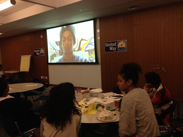 Student @UnitedWay members are finishing the day with dinner and a movie. @HomestretchDoc at #suwlr. http://t.co/DxiLXQ159v