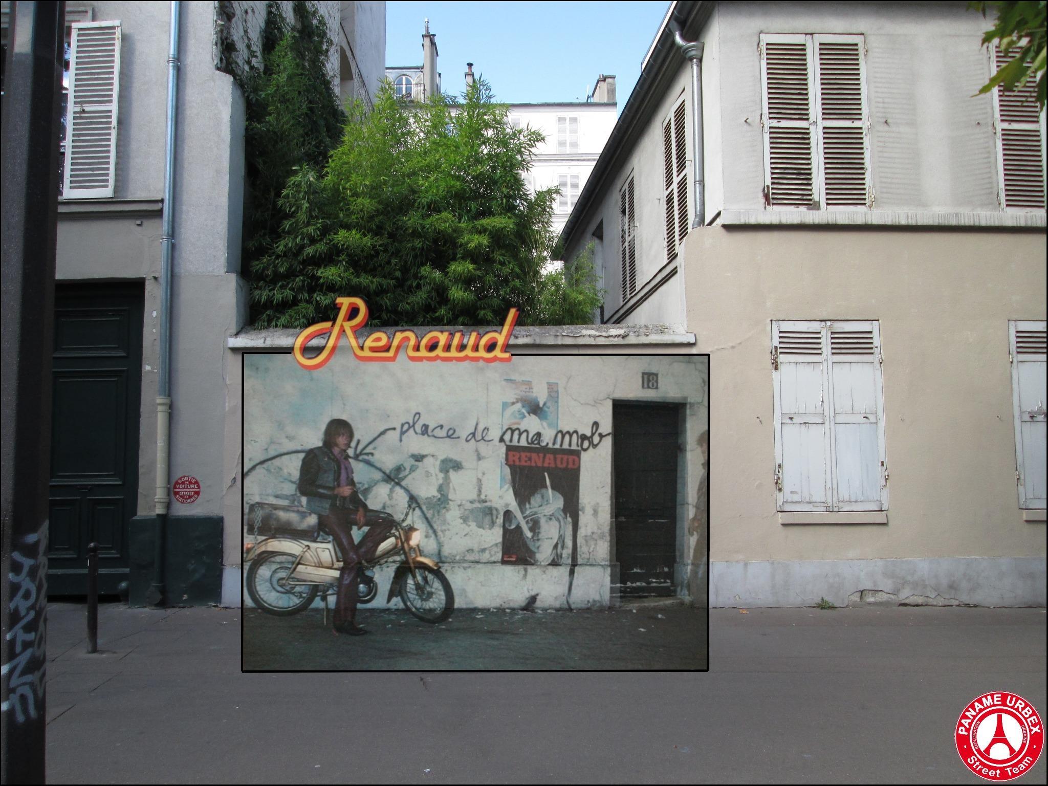La Place de ma Mob ! Renaud, album Laisse Béton, 1977. 18 avenue du Maine, 75015 Paris. (Source : Paname urbex)