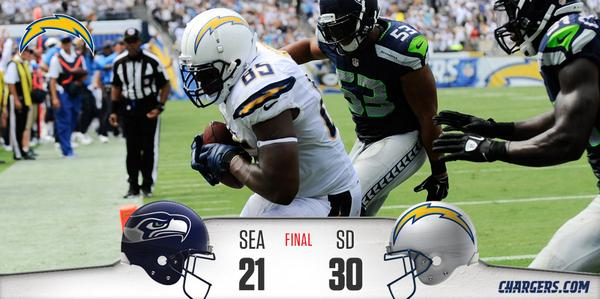 It's a #Chargers VICTORY!! Final Score:   Seahawks 21 #Chargers 30  #SEAvsSD http://t.co/4cZy961SQX