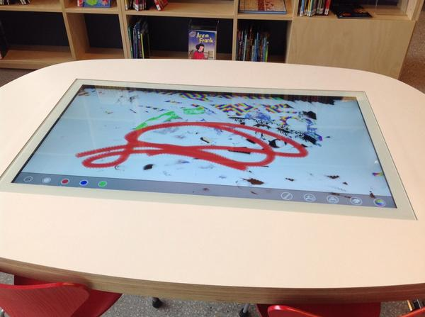 Touch table in children's space - library @ at the dock http://t.co/nZGk9TQqOe