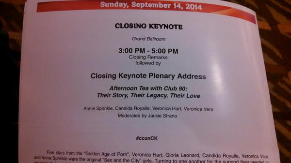 """Wow! Closing #ccon Keynote w/ 5 Stars from """"Golden Age of Porn"""" who created our history of sexuality #cconCK #fem2 http://t.co/kqFFpcEwb7"""