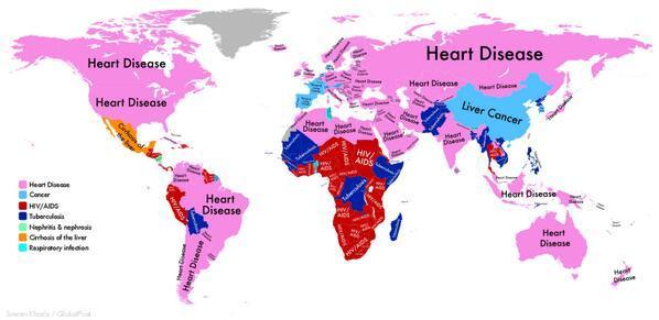 各国の死因トップ。中国は肝臓癌RT @conradhackett: DISEASE WITH HIGHEST DEATH TOLL @WHO In China, liver cancer http://t.co/hvFtK1KlnW http://t.co/h0Bpz3zN5y