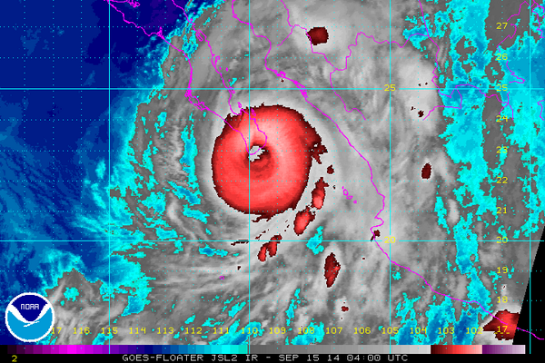 Major Hurricane #Odile is now making landfall near Cabo San Lucas, Mexico with 125 mph sustained winds. http://t.co/2qozvFVysc