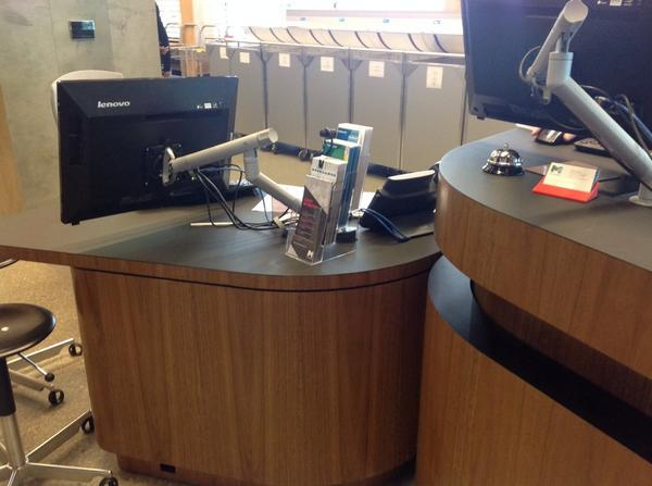 library at the dock, Melbourne - service desk, returns and shelves http://t.co/UTqOeuY4sm