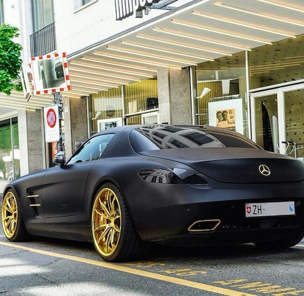 """Beautiful Cars On Twitter: """"Matte Black Mercedes SLS With"""