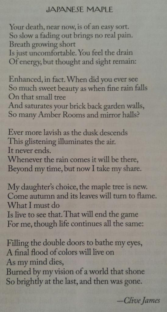 Clive James has written a poem about dying in The New Yorker, and it's something. http://t.co/FmtMHsSNHq /via @martinnicholls