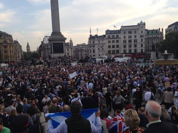 So the #Unity2014 rally in Trafalgar Square is a bit more popular than I was expecting it to be! #indyref http://t.co/r8Vlhyo6OK