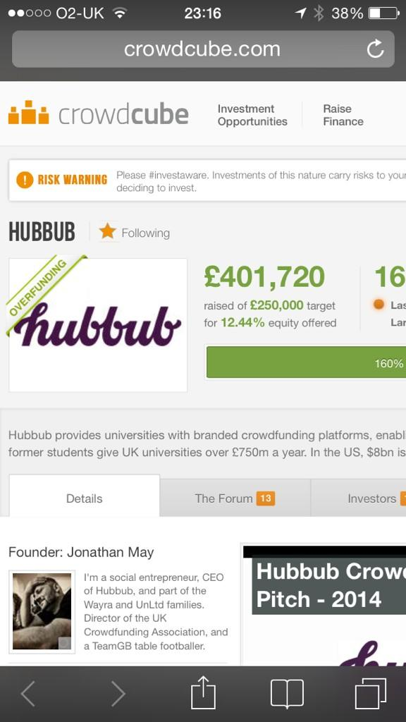You are all epic. £400k for the future of #edtech #ukedtech #ukedchat #crowdfunding at @hubbubnet. This is incredible http://t.co/Z8etENa7by