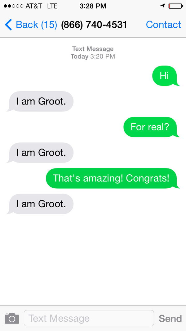 Ever wish you could have a text message conversation with Groot? Now you can! Groot SMS Chat Bot: (866) 740-4531 http://t.co/mnq9D8LL2d