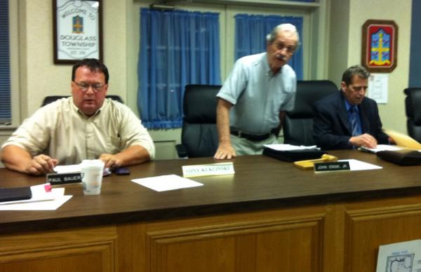 Douglass Supervisor Fred Ziegler, right, attends tonight's supervisors meeting. 1st after being charged with theft. http://t.co/q0PA6qzjKv