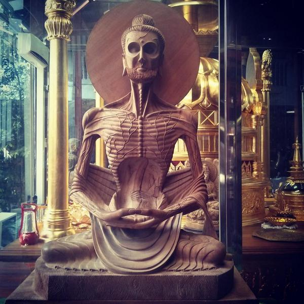 I've never seen a Buddha statue like this before. It represents the period when he starved for several weeks. http://t.co/gcJUjcfSoI