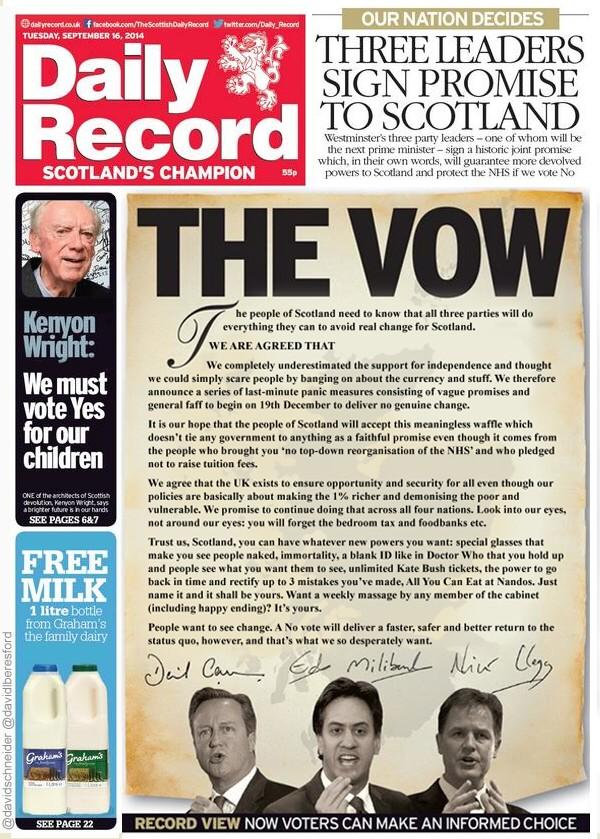 The leaders' vow. From the special honesty edition of the Daily Record #indyref http://t.co/QqQFK6F4HF