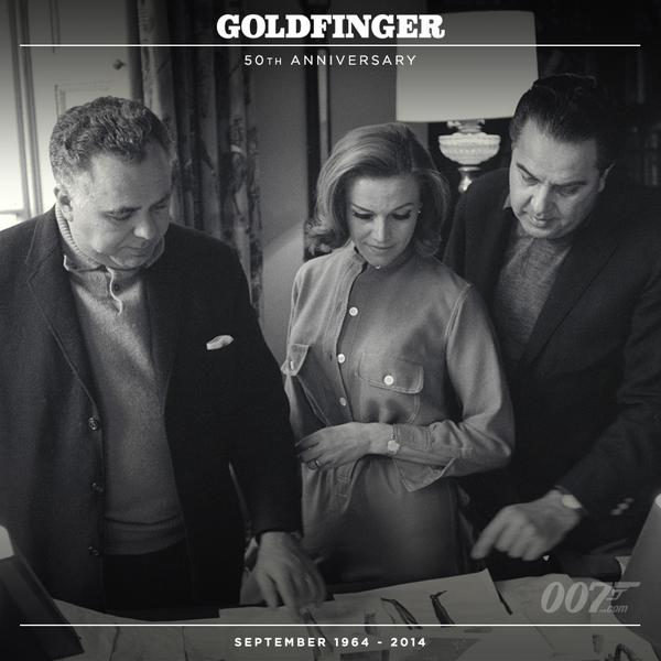 On the set of 'Goldfinger' (1964) the producers and Honor Blackman
