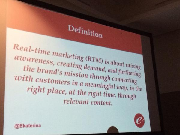How do we define real-time marketing? Nice definition from @ekaterina #futureM #inbound14 http://t.co/ViMdeiwVfP