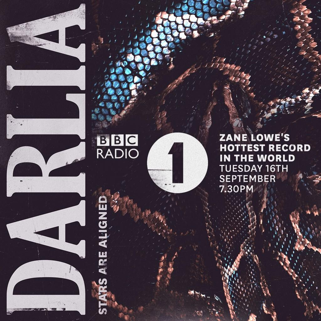 RT @Darlia: Our new single Stars Are Aligned is HOTTEST RECORD IN THR WORLD w/ @zanelowe tonight on @BBCR1! Tune in at 7.30pm! http://t.co/…