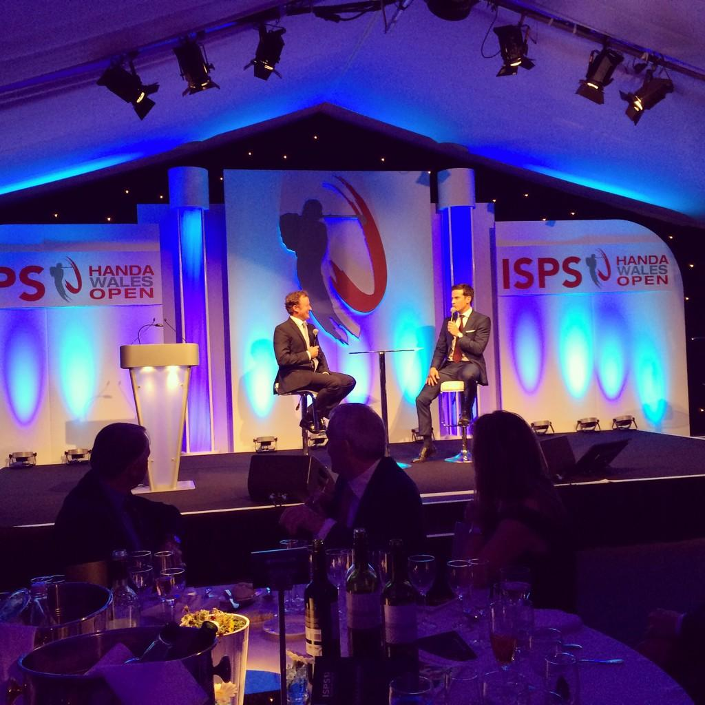 RT @ISPSGolf: Welsh @rydercupEUROPE star Jamie Donaldson entertains guests with @GethincJones at @TheCelticManor this evening #golf http://…