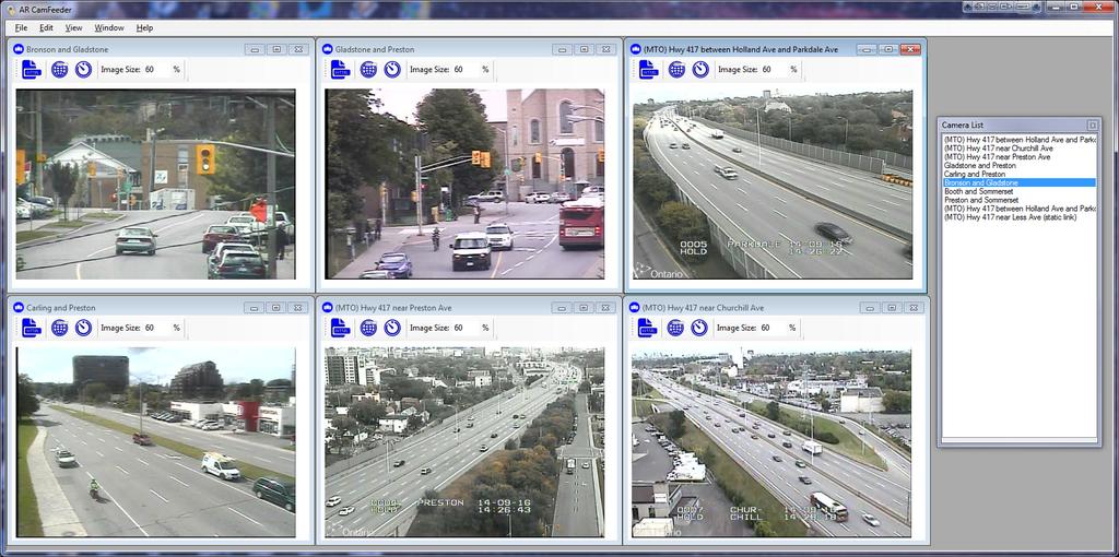AR CamFeeder screenshot (taken September 16, 2014); illustrating the auto-tiling camera feed feature.