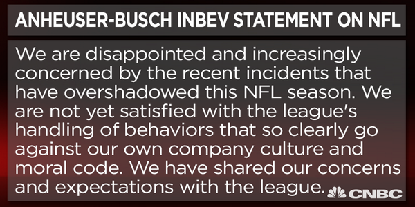 BREAKING: Anheuser-Busch InBev releases statement on the NFL's recent handling of off-the-field issues. http://t.co/63B6me7gNV