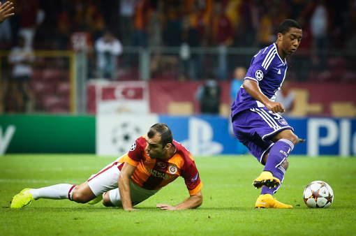 Pandev falls to the ground in the Anderlecht match