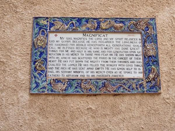 Holy is God's name ... Plaque at a Visitation Church where Mary first proclaimed the Magnificat. #PeacePilgrimage http://t.co/GGCPuBvfrU