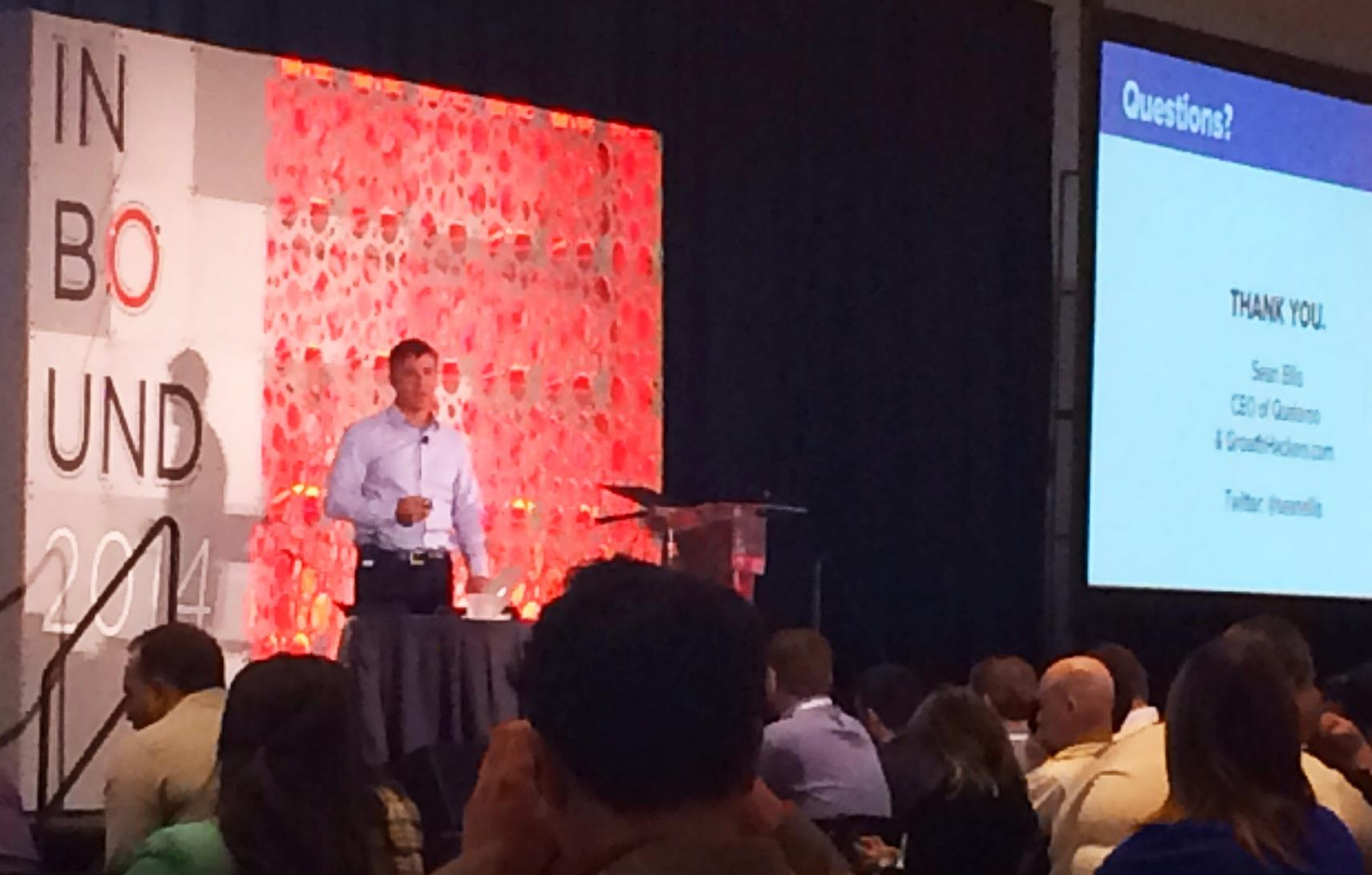 """[Great lecture!] """"The Myth of Growth Hacking Magic"""" @SeanEllis #INBOUND14 http://t.co/JHvwQCH4fl"""