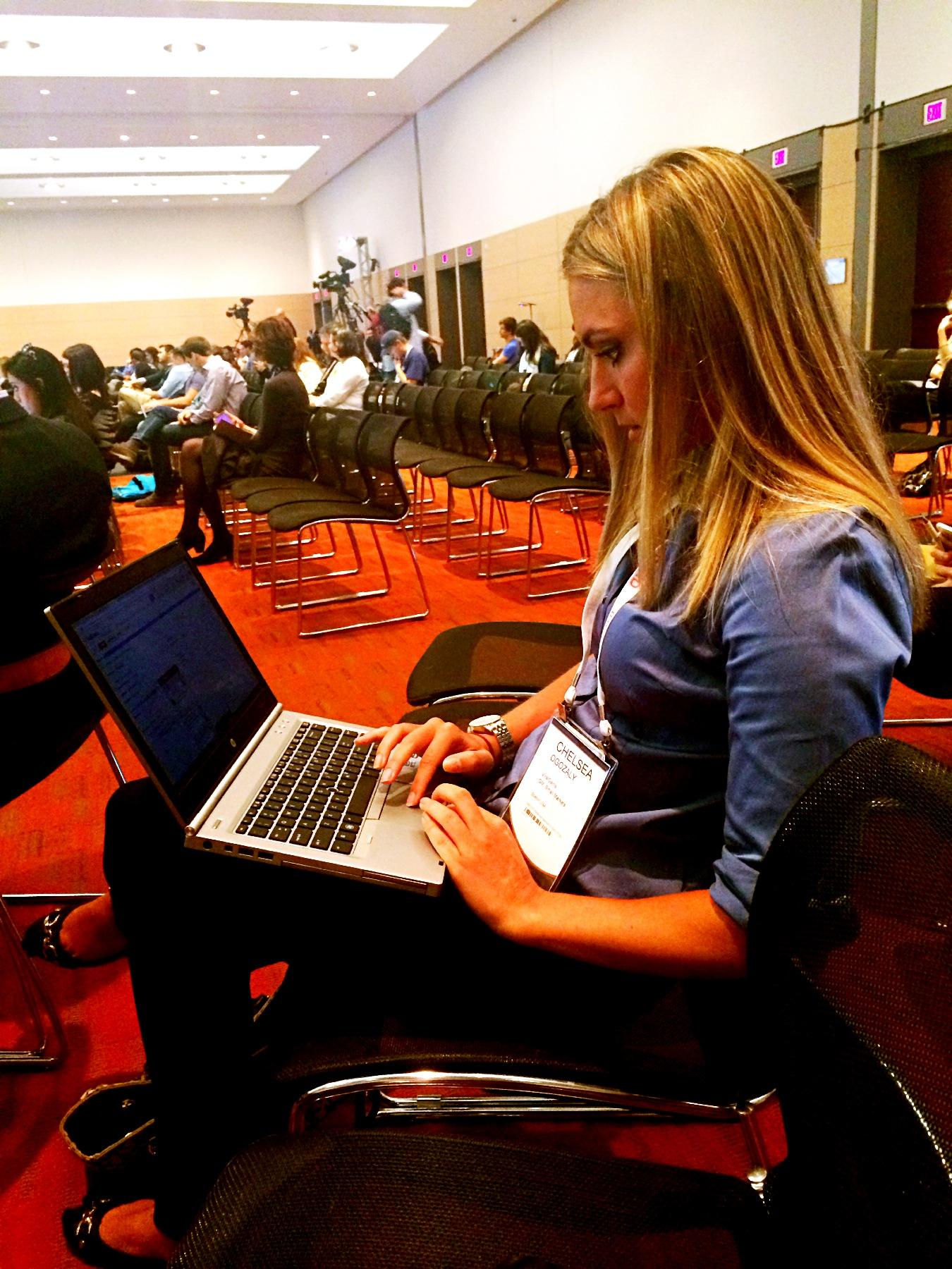 ViralGains' Chelsea Ogozaly, GM of Small Markets, hard at work during #INBOUND14! http://t.co/TDMRZ8SIo1