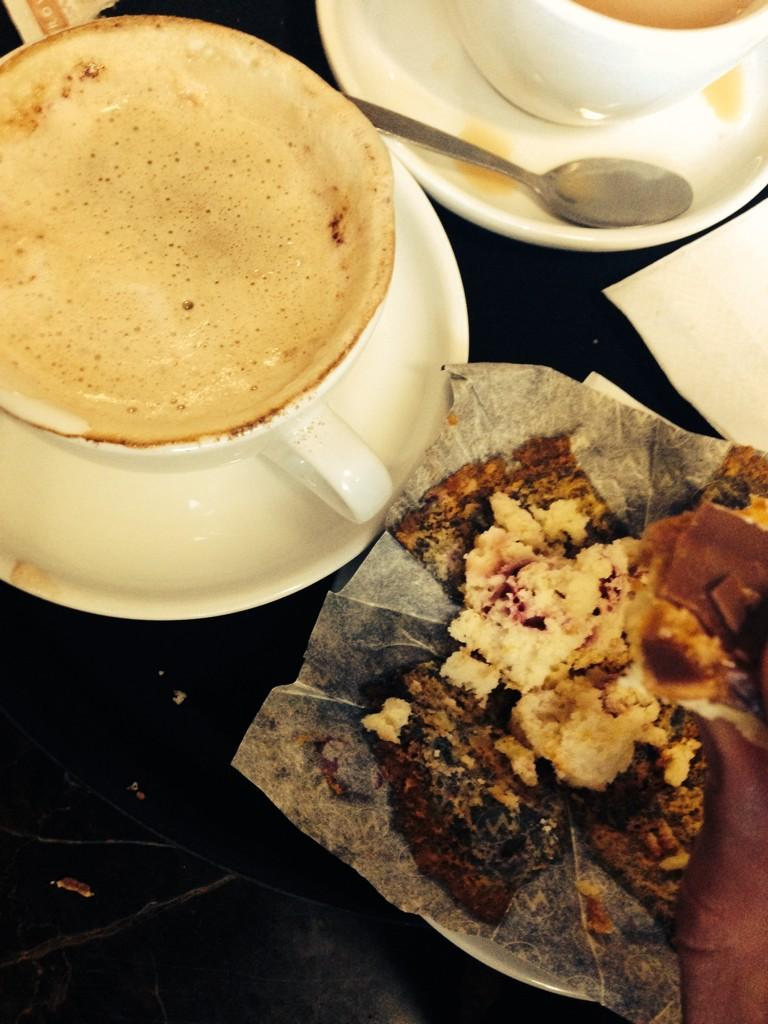 Millionaire shortbread chocolate biscuit with a muffin and a cappuccino. Perfect #GymPlease http://t.co/cgbwB4BDKB